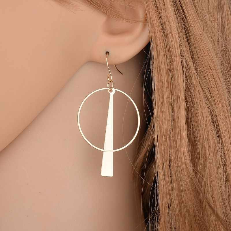 2018 nuevos exagerados pendientes circulares geométricos largos pendientes de metal para Mujer Accesorios de joyería de aleación regalo de fiesta para mujer
