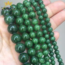 Cuentas de piedra Natural para fabricación de joyas, cuentas redondas sueltas de jade verde para fabricación de joyas, accesorios de pulsera y collar de 15 pulgadas, 4/6/8/10/12mm