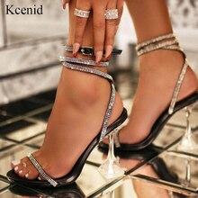 Kcenid 2020 new bling crystal 섹시한 여성 샌들 하이힐 라인 석 스트랩 검투사 샌들 여성 perspex heel wedding shoes