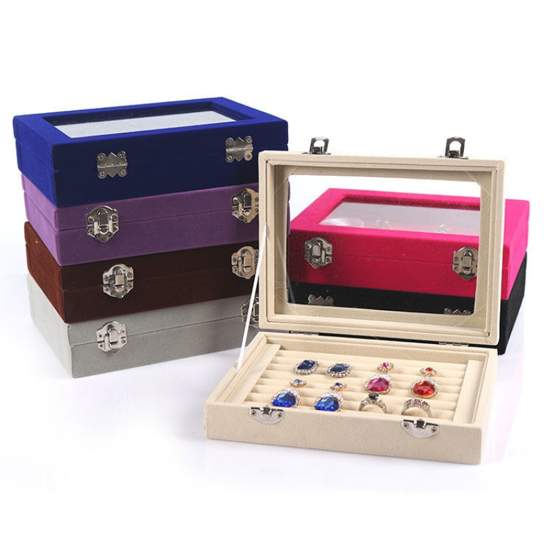 200x150x45mm Multiple Grids Ring Box Lint Mini Rings Ear Stud Case With Lid Jewelry Holder Earring Storage Box Jewelry Organizer