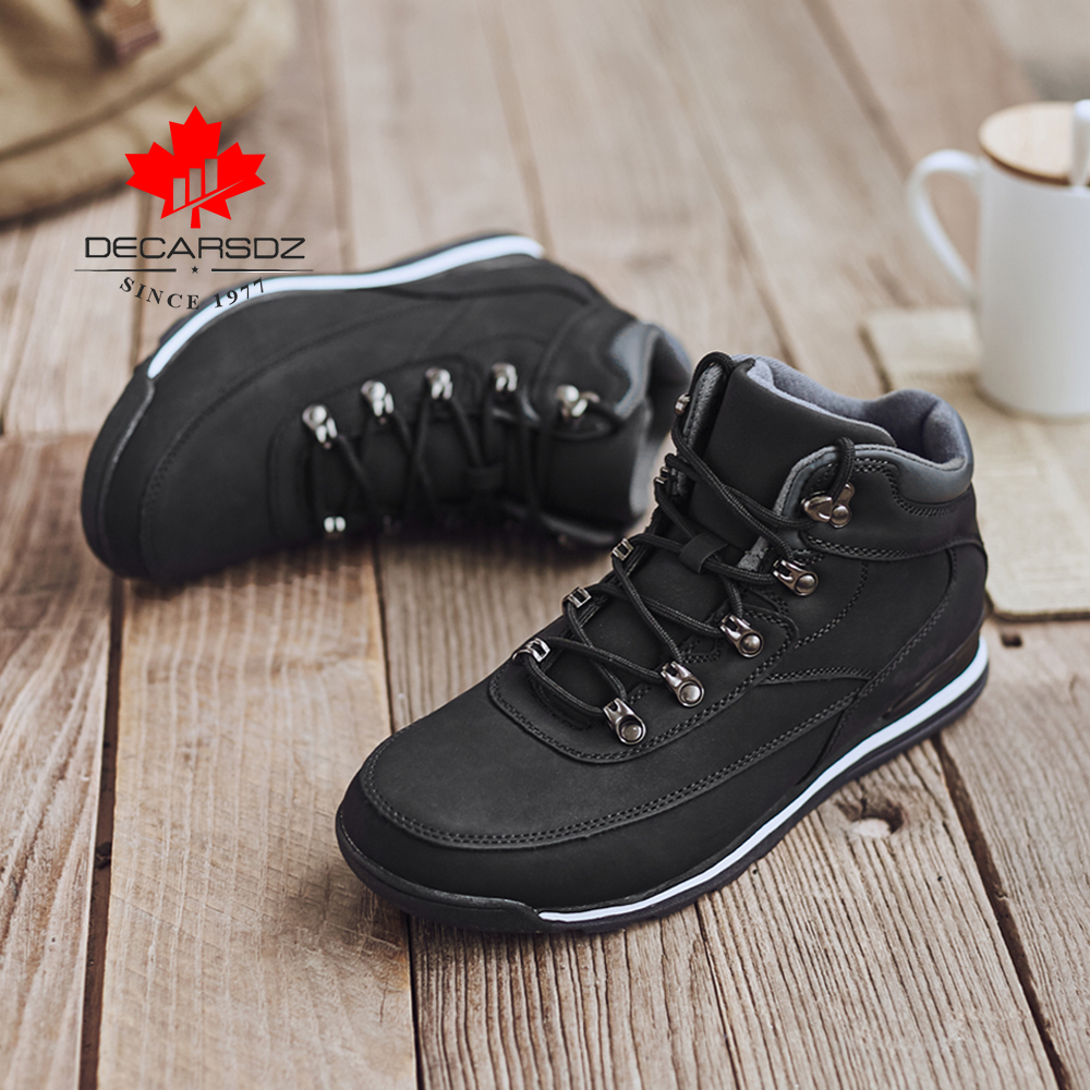 Mens Winter Warm Leather Ankle Boots Fur Lining Casual Shoes Outdoor Anti skid
