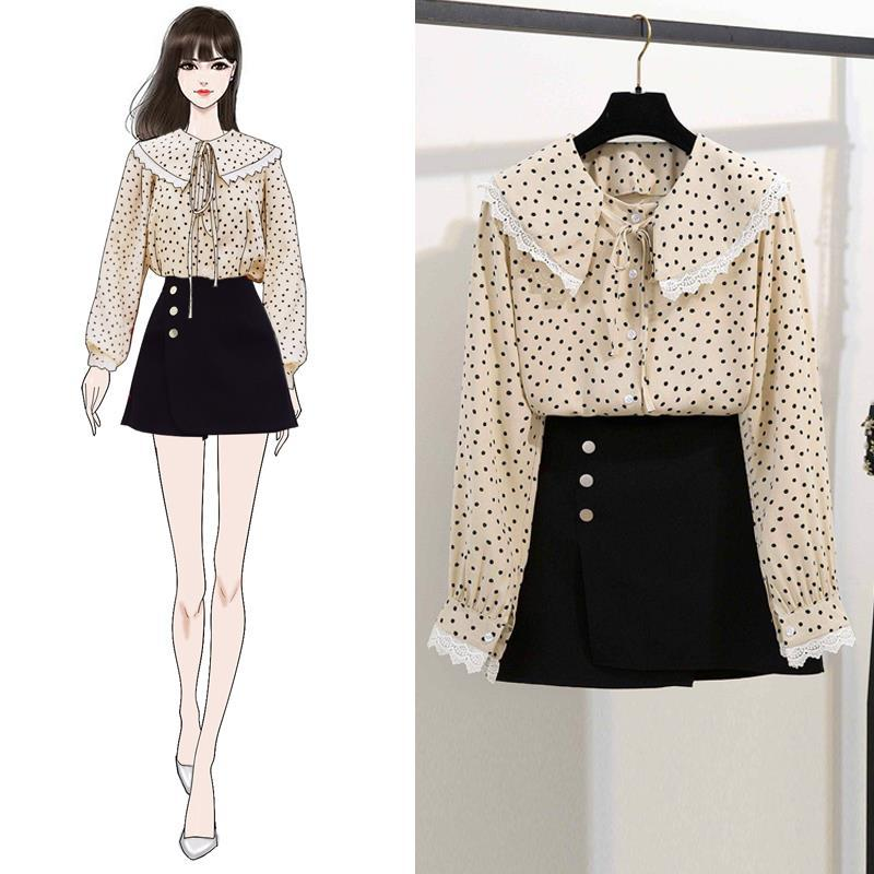 2019 Spring New Style Two-Piece Set Sweet College Style Peter Pan Collar Lace Joint Skirt Short Skirt Women's