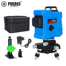 PUERCI P7CG 12 Lines 3D Laser Level Self-Leveling 360 Degrees Horizontal and Vertical Cross Super Powerful GREEN Laser Beam цена и фото