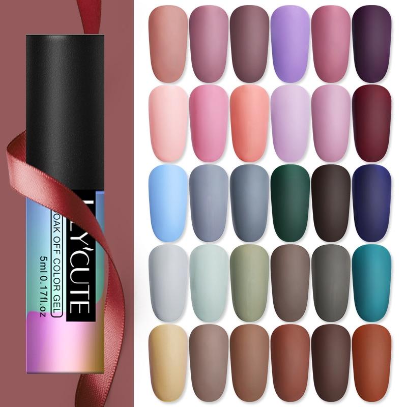 LILYCUTE 5ml Matte Gel Polish Soak Off UV LED Gel Varnish Long Lasting Grey Pure Nail Color UV Nail Gel Varnish DIY Art Design