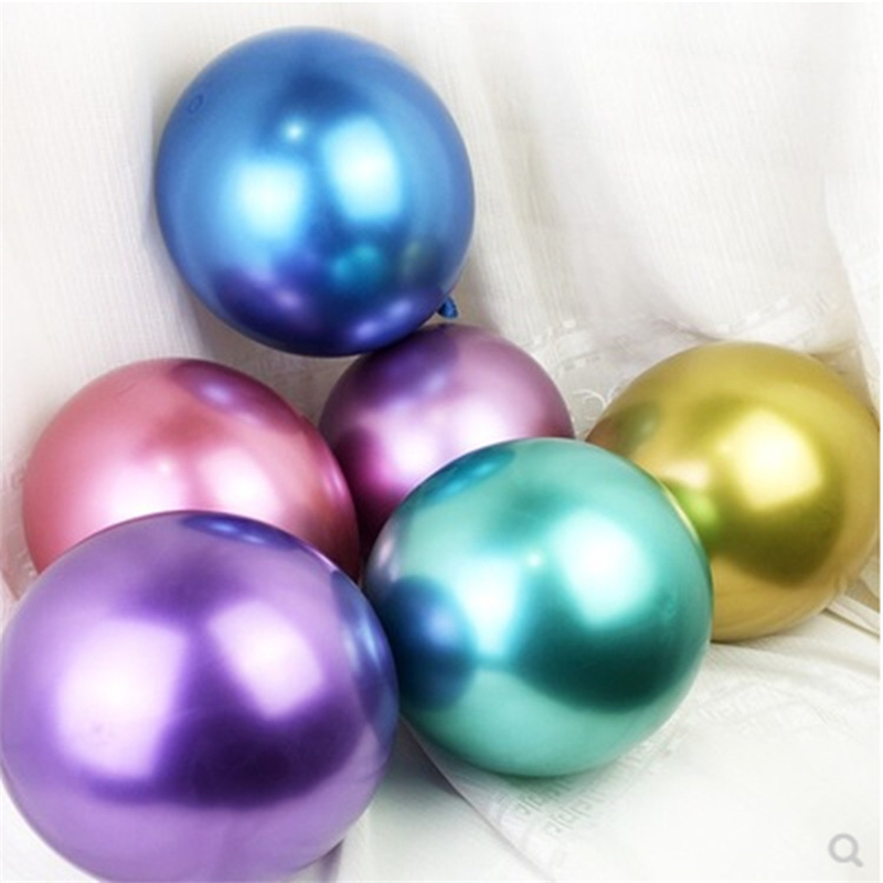 10pcs/set Wedding Party Decoration Chrome Balloon <font><b>18</b></font> Inch 7g Metal Latex Balloon <font><b>Happy</b></font> <font><b>Birthday</b></font> Party Metallic Latex Balloon image