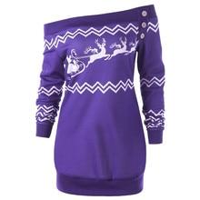 Womens Merry Christmas Plus Size Pullover Deer Elk Printed Skew Neck Sweatshirt 9.2