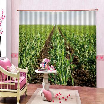 green curtains plant curtain 3D Blackout Curtains For Living room Bedding room Drapes Cotinas para sala