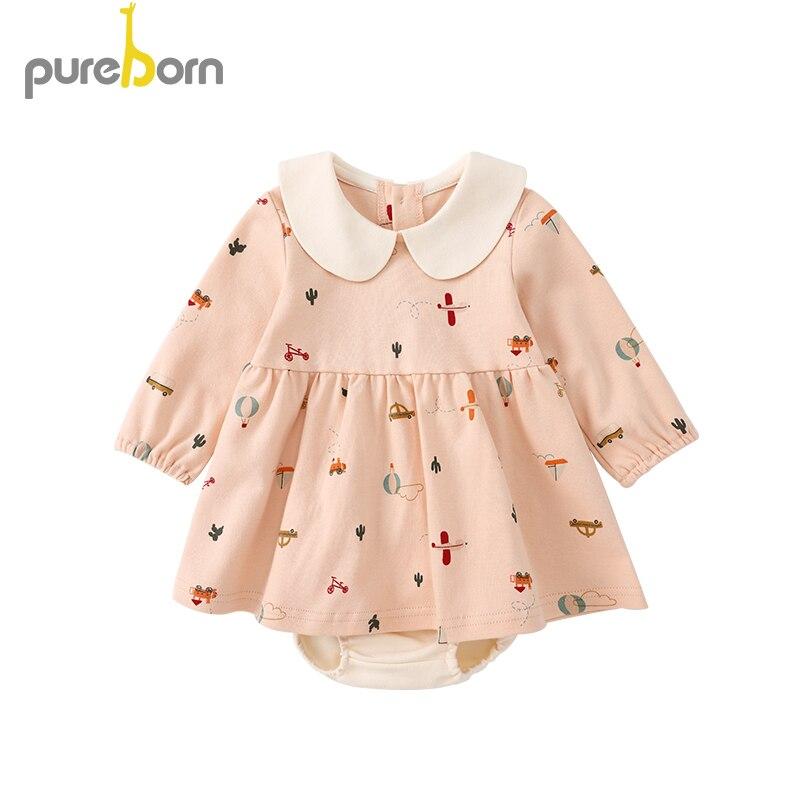 Pureborn Newborn Baby Girl Dress Long Or Short Sleeve Cartoon Printed Baby Girl Dress Clothes Princess Summer Holiday Dress