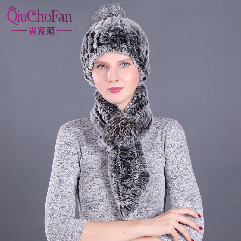 Girl Fashion Winter Hat & Scarf Set For Women Girls Warm Beanies Scarf Pompoms Real Fur Hats Knitted Caps And Scarf 2 Pieces/Set
