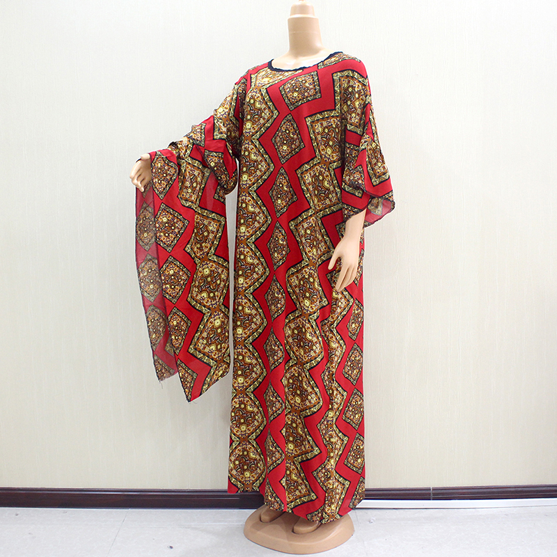 2019 African Dashiki Red Color 100% Cotton O-Neck Short Flare Sleeve Beautiful Elegant Noble Women Long Dress With Scarf