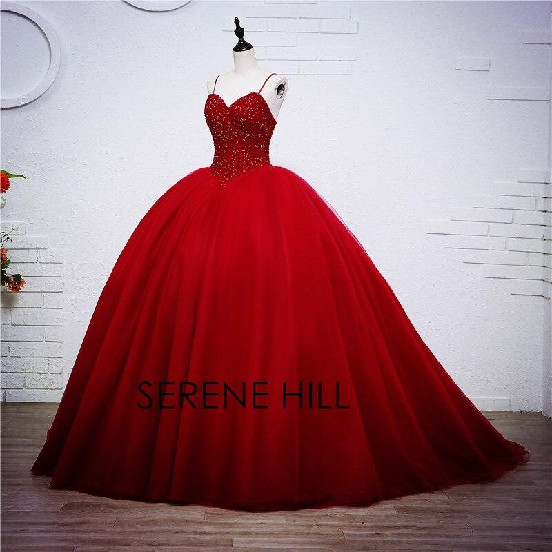 2020 luxe cristal robe de bal rouge Bling