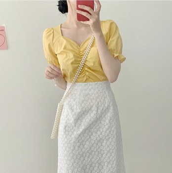 2021 New Girls Summer Blouse Women Shirt White Short Sleeves Tops High Waist Bud Silk Embroidery A Line Skirts Two Piece Suits 1