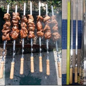 """Image 5 - Ensemble de brochettes pour Barbecue en acier inoxydable, 55cm, 21.5 """", Long manche en bois plat, aiguille pour Barbecue, Barbecue, outils dextérieur, 6 pièces"""