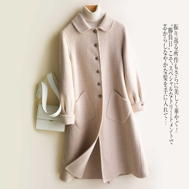 2020 feminino face 100% lã casaco feminino xadrez casacos de inverno coreano longo roupas primavera outono casaco lwl1419