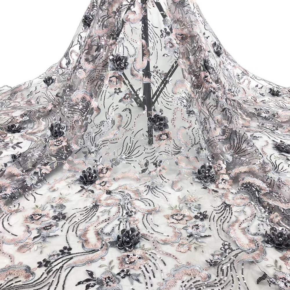 Fashionable African Lace Fabric Floral Embroidered With Sequins 3D Flower Excellent Tulle Lace For Elegant Women Evening Dress