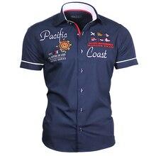ZOGAA Men's Casual Blouse Summer Cotton Linen Shirt Letter Print Slim Fit Tops Short Sleeve Dress Shirt Male Handsome Men Shirt