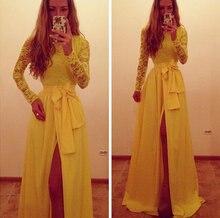 Модное желтое вечернее платье с длинными рукавами Новое поступление