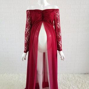 Image 3 - Кружевное платье для беременных Le Couple, длинное платье розового цвета с длинным рукавом для беременных