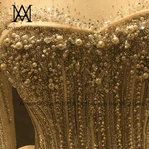 Image 4 - Женское вечернее платье с длинным рукавом, роскошное свадебное платье с жемчугом и кристаллами