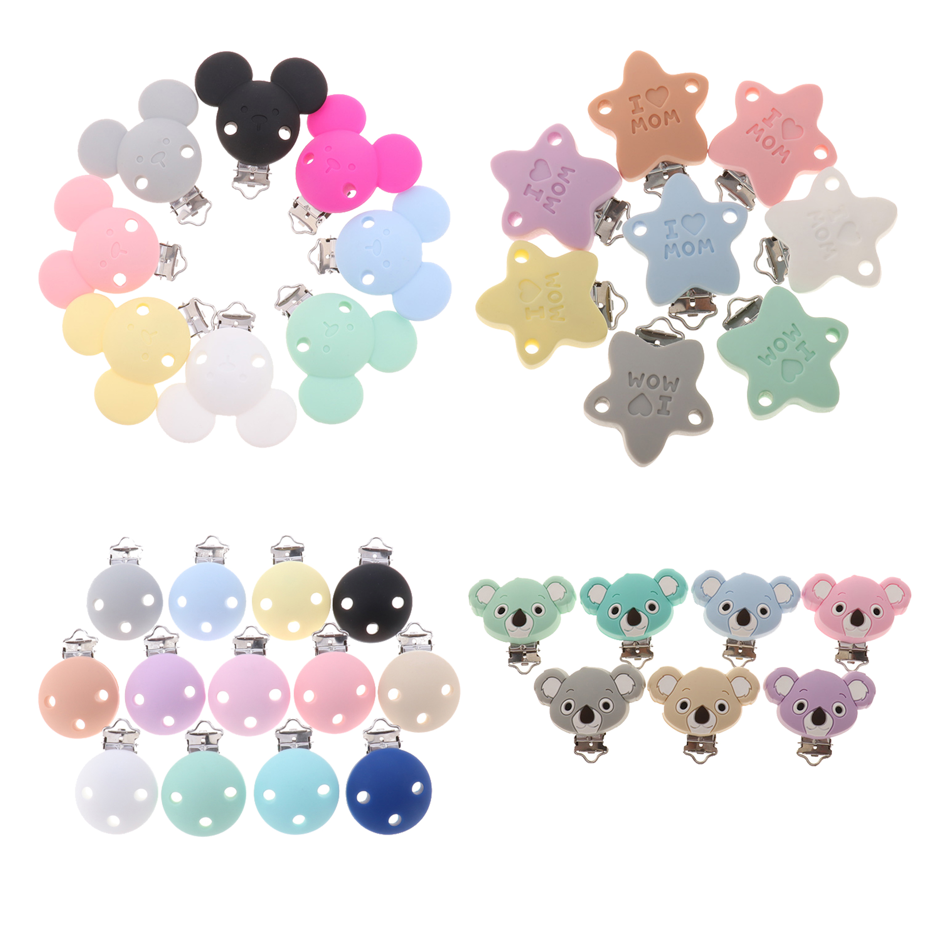 Fkisbox 2pcs Mouse Pacifier Clip Silicone Bead Baby Teether & Plastic Teething Accessories Nipple Clasps Toy DIY Round Koala