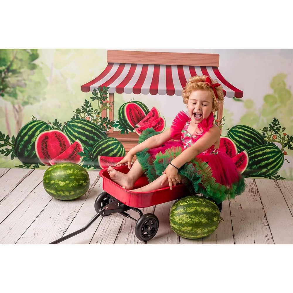 Wassermelone Geburtstag Partei Hintergrund für Foto Schießen Wilden Grünen Wald Farmer' s Markt Backdground Neugeborenen Portrait Fotografie