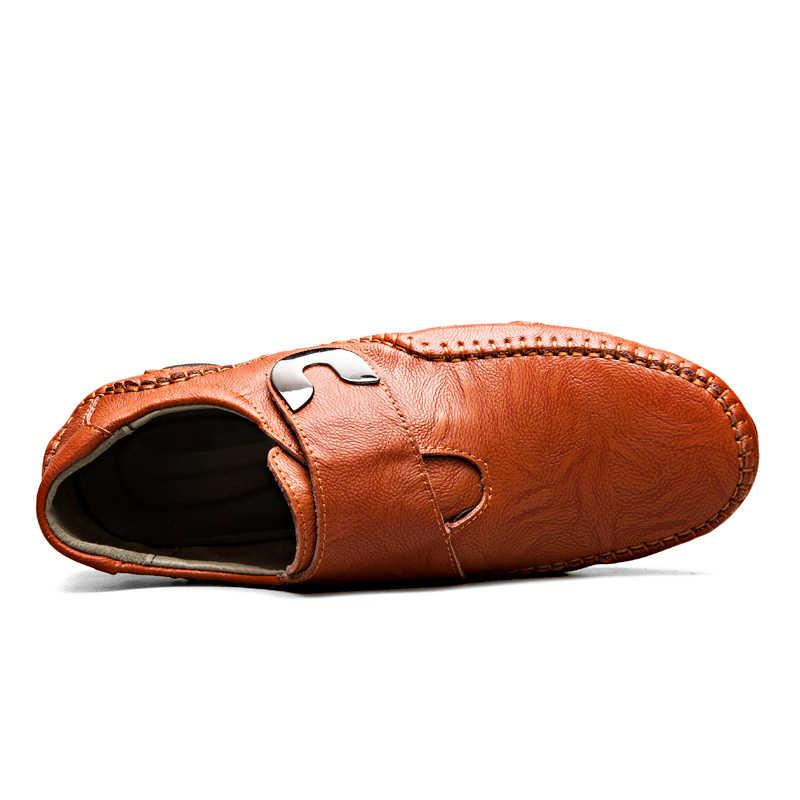 2019 yeni erkek deri ayakkabı rahat sıcak nefes Moccasins loafer'lar kış erkek rahat yumuşak daireler sürüş ayakkabı