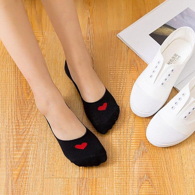 1 paire de nouvelles chaussettes femmes couleur unie rose noir blanc Invisible dame chaussettes courtes été mince antidérapant Gel de silice fille bateau cadeau