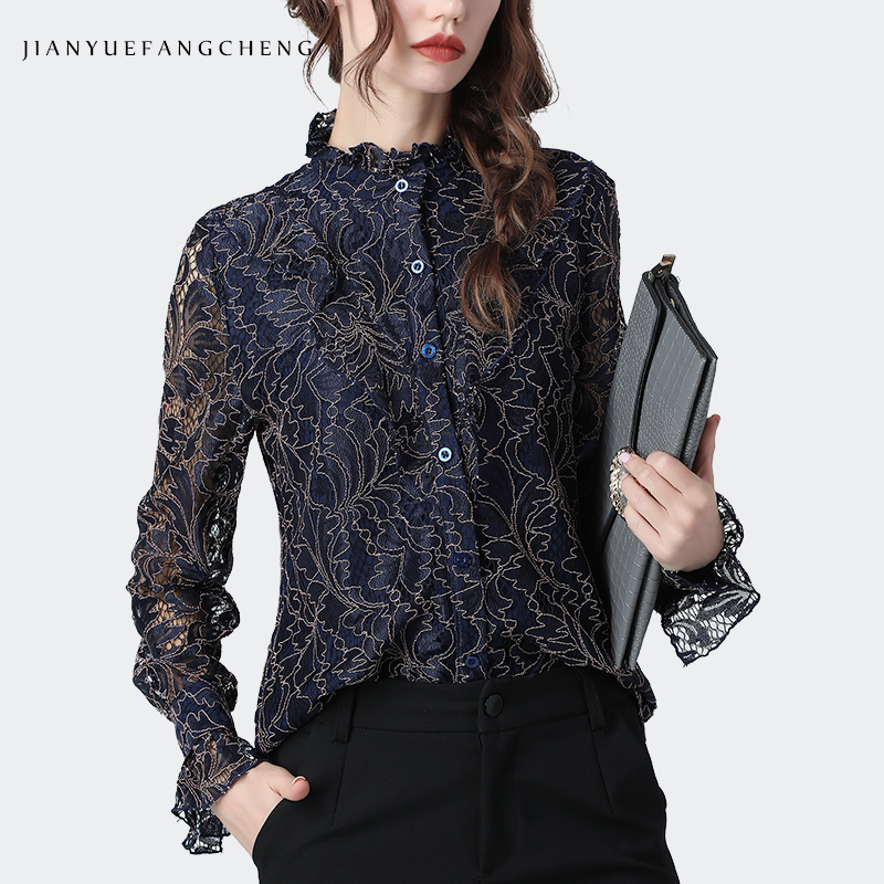 Floral Lace Shirt Women Autumn Top Vintage Hollow Out Ruffled Stand Collar Long Sleeve Blouses Plus Size Elegant Casual Blouses