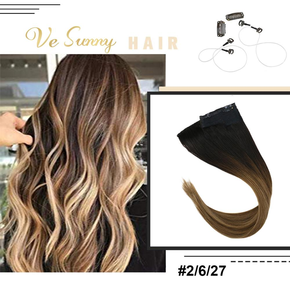 VeSunny Invisible Halo Hair Extensions 100% Real Human Hair Fishing Wire with 2 Clips Balayage Ombre Brown to Caramel #2/6/27