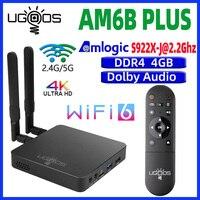 UGOOS AM6B Plus Dispositivo de TV inteligente Android 9,0 TVBox S922X DDR4 4GB RAM 32GB 2,4G/5G WiFi 1000M BT5.0 4K AM6 más Wifi6 Set Top Box