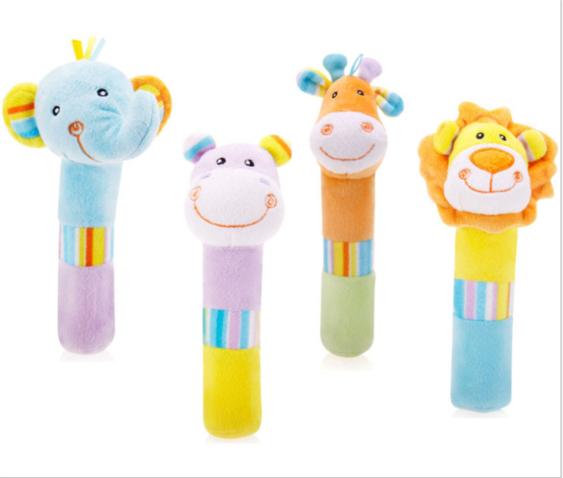 Infant Jungle Animals High Quality Soft Plush Squeaky Sticks Baby Rattles Elephant Giraffe Hippo Lion Toys For Children Gift