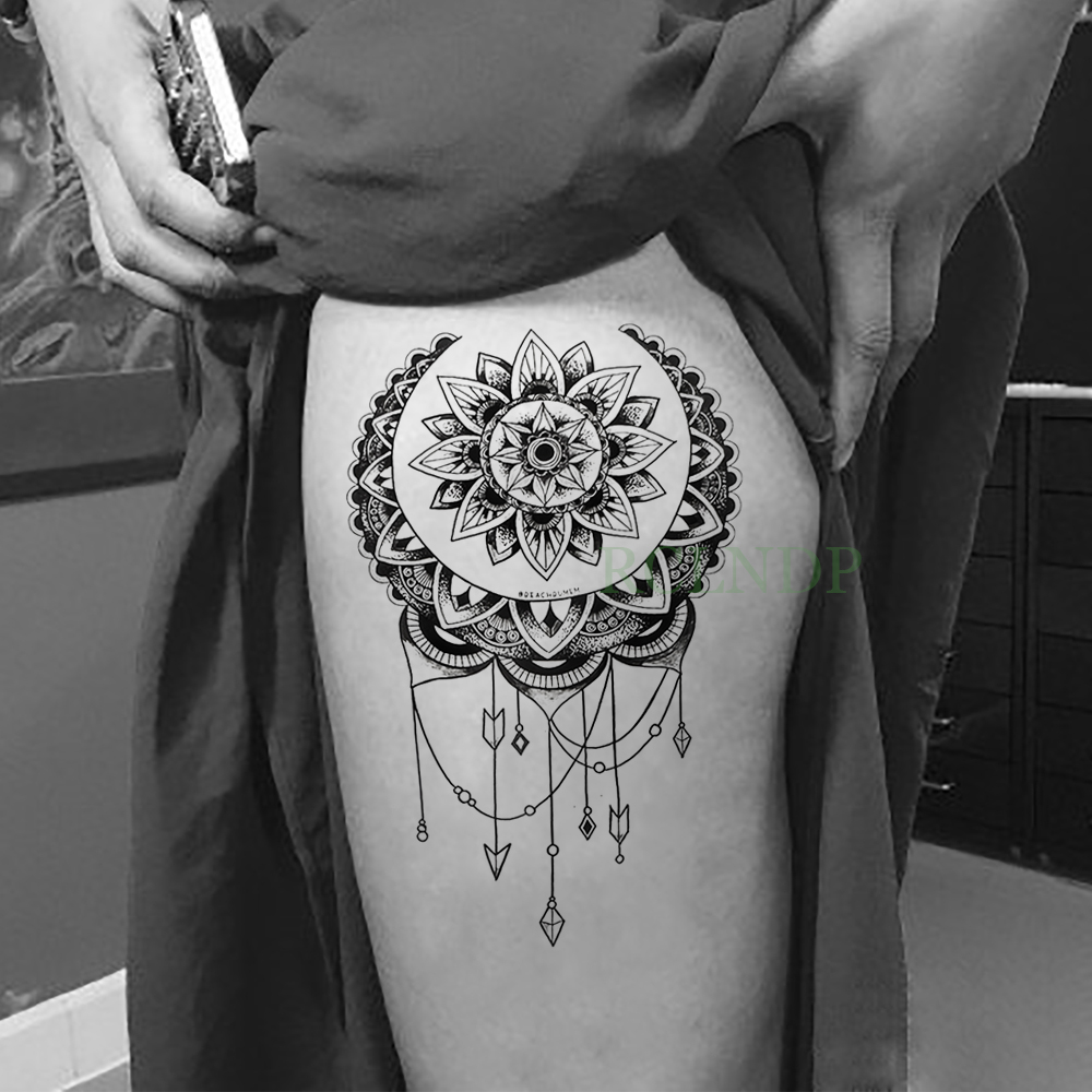 Waterproof Temporary Tattoo Sticker Lotus Dreamcatcher Fake Tatto Flash Tatoo Back Leg Abdomen Arm Tatouage For Girl Women Men