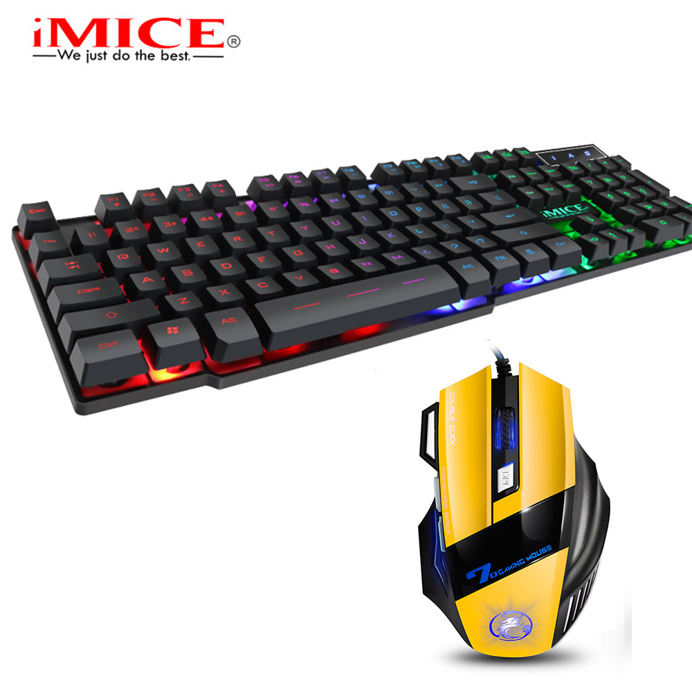 IMice Mouse Keyboard Set Gaming Keyboard Imitation Mechanical Keyboard With Backlight Wired USB Game Keyboards Gamer Mice X7