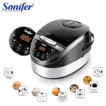 5L Rice Cooker Household Electric Cooking Machine Multi Electric Rice Soup Porridge Steam Cake Yogurt Large Led Screen Sonifer