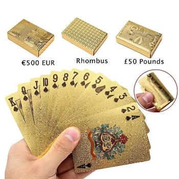 24K Gold Foil Playing Cards Poker Game Deck Gold Foil Poker Set Plastic Magic Card Waterproof Cards Magic Entertainment