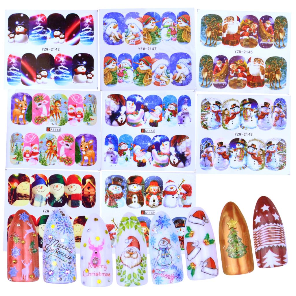 1 Sheet Santas Snowmen Trees Snowflakes Xmas Christmas 3D Nail Art Stickers Fashion Women DIY Nail Art Sticker 2019 New