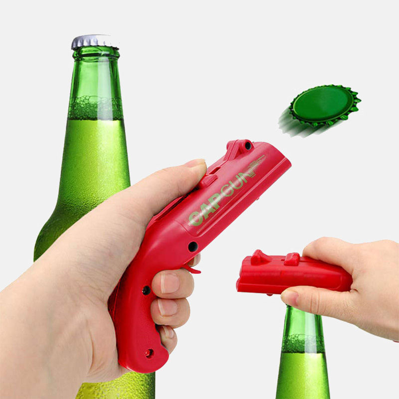 Portable Cap Gun Creative Flying Cap Beer Opener Launcher Bottle Bar Tool Drink Opening Gun Shaped Bottle Lids Shooter Red Gray