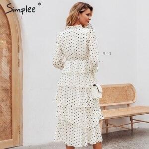 Image 4 - Simplee Elegant polka dots ชุดสตรีแขนยาวยาวเค้กหญิง Vintage สุภาพสตรีชุดราตรี vestidos