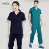 Viaoli Unisex Nursing Scrubs Clothes Short Sleeved tops pants Doctor shirt Brush hand clothing men spa uniform nurse uniform