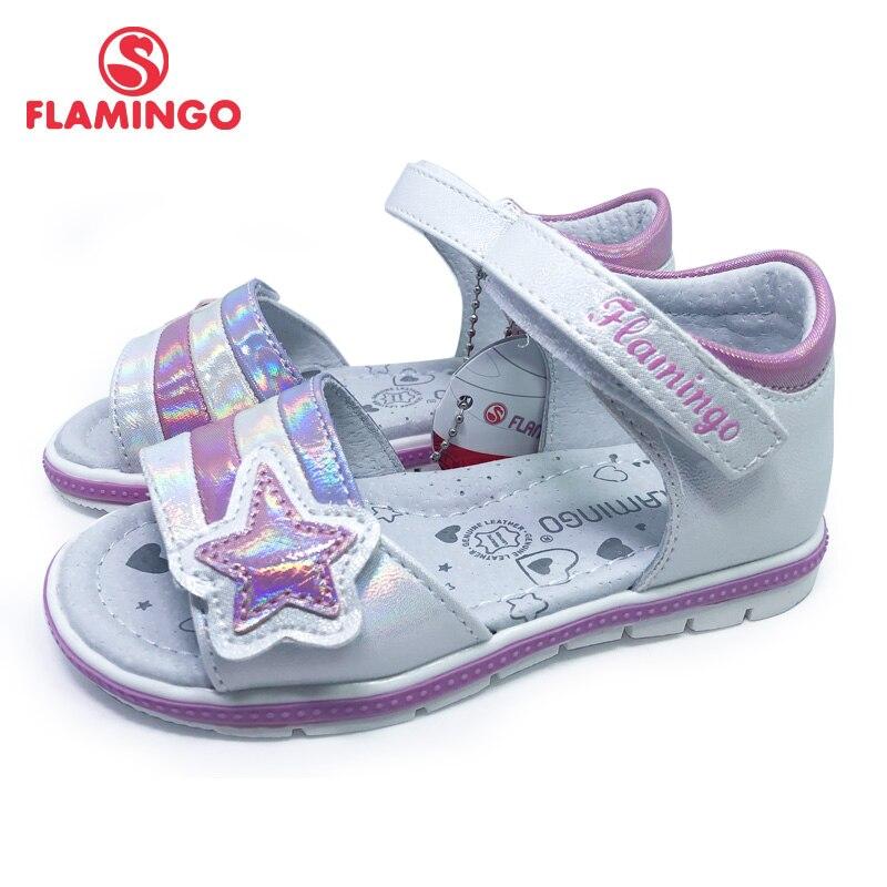 FLAMINGO 2021 Summer kinder sandalen Hook& Loop Flat Arched Design Chlid Casual Princess Shoes Size 26-31 For Girls 211S-Z6-2337
