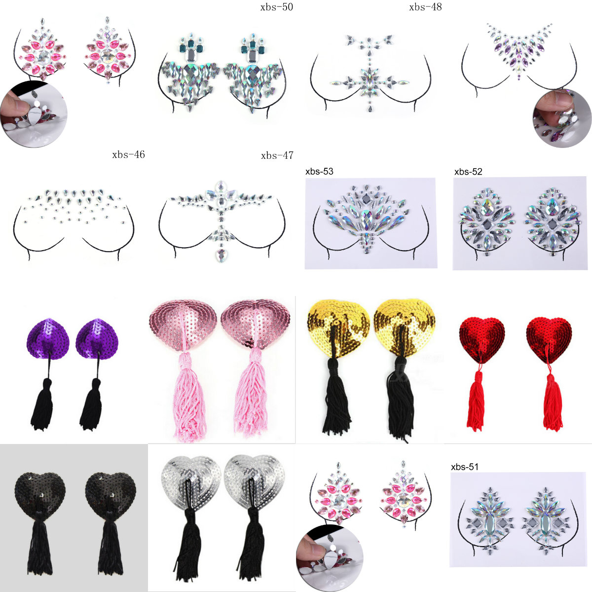 1Sheet Sexy Women Bra Breast Pasties Adhesive Stickers Body Paint Accessories Crystal Nipple Stickers Chest Stickers