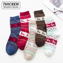 HSS Brand Thicken Women Christmas Socks Warm Rabbit Wool Winter Sock High Quality Cotton Casual Fawn Snowflake Pattern socks