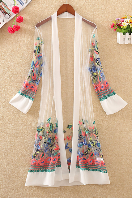New Women Floral Embroidered Long Jacket Summer Net Cardigan Casual Long Sleeved Thin Coats Ladies Vintage Beach White Outerwear 6