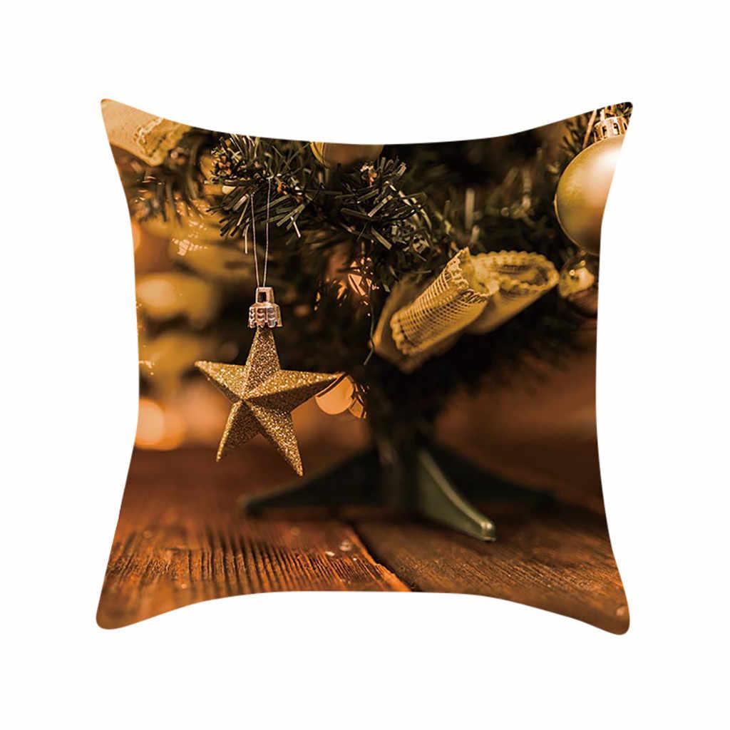 2019 НОВАЯ РОЖДЕСТВЕНСКАЯ Золотая лося подарочная печать персиковая Наволочка на замше наволочка для дивана