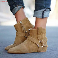 Autumn Fashion 2019 patch work suede leather women boots height increasing heel wedge ankle boots zip round toe chain short boot