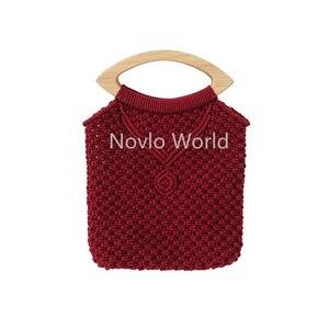 Image 5 - 2 10 20 adet 4 renk 20X9.5cm dudak şekli ahşap saplı örgü çanta, meşe ağacı ahşap sadece dantel çanta kalem kolları