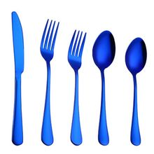 High Quality New 5PCS/SET Blue Color Silverware Set Stainless Steel Knife Fork Spoons Serve