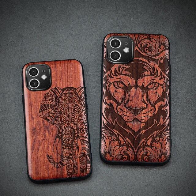 Carveit جراب هاتف من خشب الورد الأصلي ، جراب فاخر مع غطاء خشبي منحوت لهاتف iPhone 12 Pro Max ، 100%
