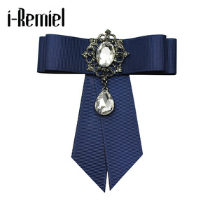 i-Remiel Ribbon Tie Bow Brooch Fabric Crystal Flower Pins And Brooches Accessories Ladie Bowtie Broaches Pin Badge For Women Men(China)