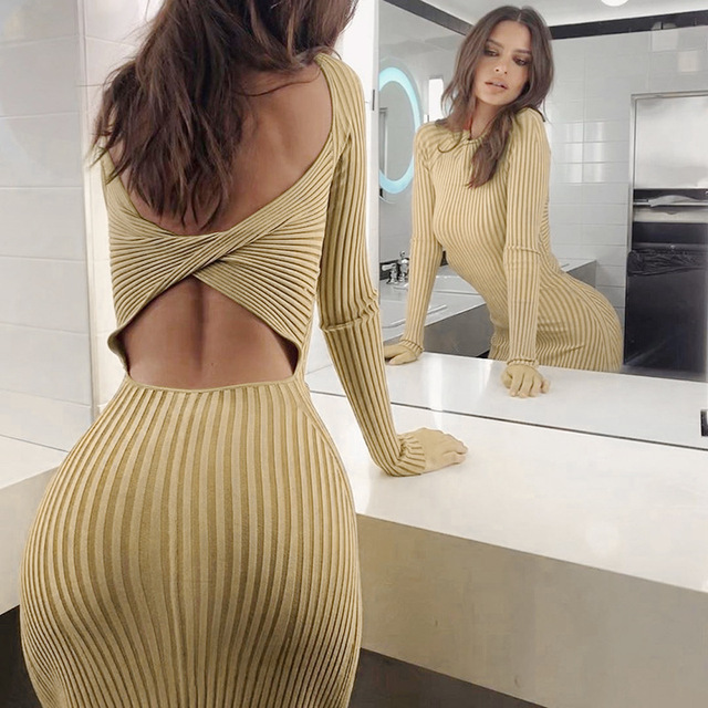 ZHYMIHRET 2019 Autumn Hollow Out Holder Dress Long Sleeve Sexy Backless Bodycon Party Dress Twist Knee Length Vestidos 1
